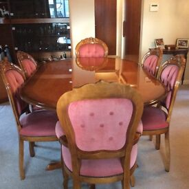 Italian style dining table , 2 carvers and 4 chairs