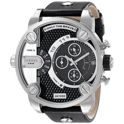 NEW Diesel Original DZ7256 Little Daddy Men's Chronograph Black Leather Watch