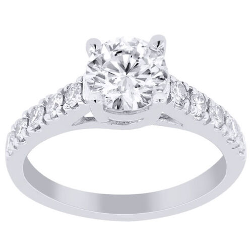 2.75 Ct Round Cut Designer Diamond Engagement Ring 14k White Gold H Vvs2