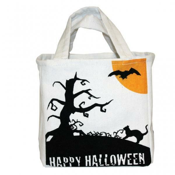 Happy Halloween Canvas Trick or Treat Bag