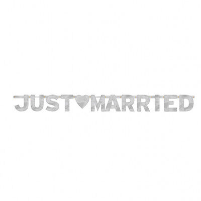 JUST MARRIED SILVER LETTER BANNER - 5.5FT LONG (1.6M)