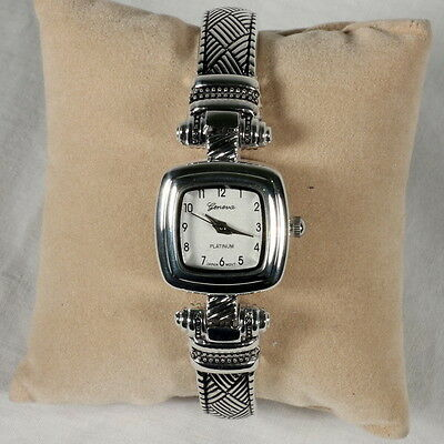 """Silver Cuff Watch, Brighton Beach Square Face """"Woven""""-Free Xtra Battery!"""