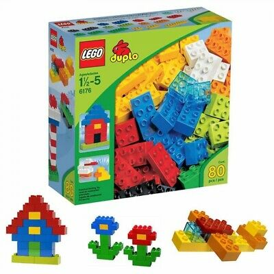 New LEGO Duplo Basic Colorful Bricks 6176 80 pcs Building Toy Ages 1-1/2 to 5 Lego Duplo Basic Bricks
