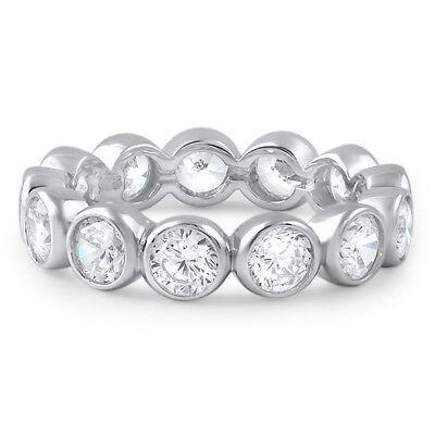 3mm CZ Cubic Zirconia Sterling Silver Bezel Set Large Fashion Eternity (Bezel Set Cubic Zirconia Ring)