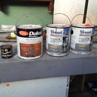 Full oil stain and clear finish. 2 cans of white latex paint