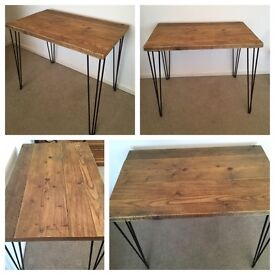 Reclaimed desk with hairpin legs