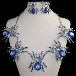 5 Spider Necklace Earring Set Rhinestone Crystal Blue Insect Halloween