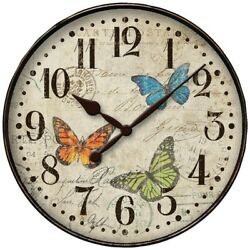 Westclox 32897BF Round 12 Butterfly Wall Clock