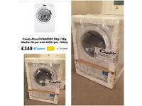 Free standing new Candy 8Kg/ 5Kg washer/ dryer with 1400 rpm white