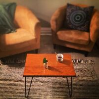 Coffee table - table base + hairpin legs