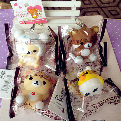 San-X Brown White Sheep Rilakkuma Vanilla KIIROITORI Squishy Phone Strap 1PCs