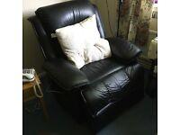 Black leather recliner/massager