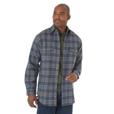 Wrangler Men's Riggs Blue & Olive Plaid Heavyweight Flannel Shirt 3W532OB - Olive Plaid Flannel