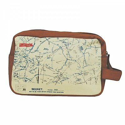WW1 TRENCH MAPS Canvas WASH BAG - WarTime TOILETRY Travel Men Case