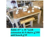 Table & 4 chairs with extension & optional rustic bench