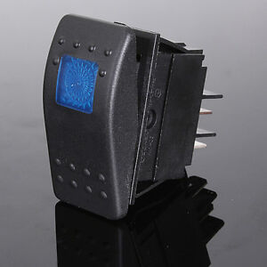 new Blue 12V 20A Car LED Light ON-OFF Illuminated Rocker Switch Waterproof Boat