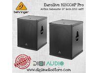2 X Behringer Eurolive B1800HP Active Subwoofer Turbosound Speakers DJ Disco 2200W