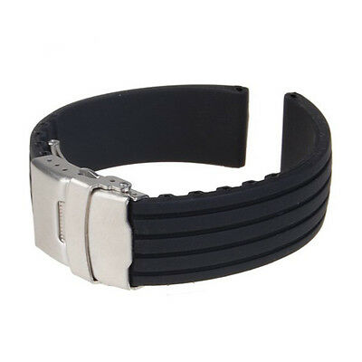 New Silicone Rubber Watch Strap Band Deployment Buckle Waterproof 18 20 22 24Mm