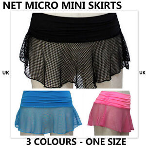 LADIES-FISH-NET-MICRO-MINI-SKIRT-BLUE-BLACK-PINK-ONE-SIZE