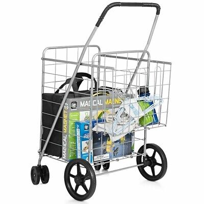Collapsible Shopping Cart Foldable Grocery Basket W Wheels Utility Trolley Jumbo