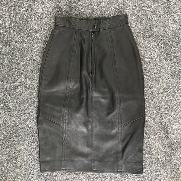 High waisted real leather black vintage skirt 23 inches