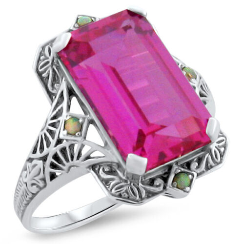 VINTAGE ANTIQUE STYLE 925 SILVER 8 Ct PINK LAB SAPPHIRE RING SIZE 10        #314