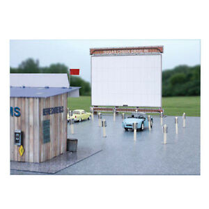 BK6419-1-64-Slot-Car-HO-Drive-In-Theatre-Photo-Real-Kit-Fits-Aurora-AFX