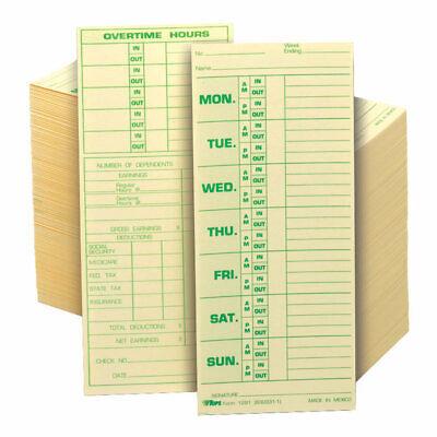 Tops Time Cards Replaces Original Card 331-10 Named Days 8.5 X 3.5 500-pk