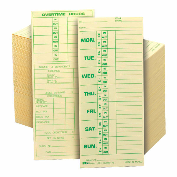 "TOPS Time Cards (Replaces Original Card 331-10), Named Days, 8.5"" x 3.5"", 500-Pk"
