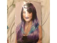 Purple and blue wig