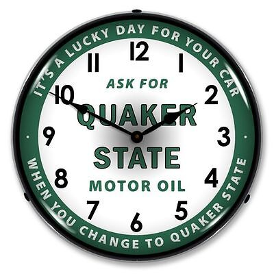 NEW QUAKER STATE MOTOR OIL  RETRO BACKLIT LIGHTED CLOCK -  FREE SHIPPING*