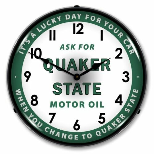 NEW QUAKER STATE MOTOR OIL  RETRO LED LIGHTED CLOCK -  FREE SHIPPING*
