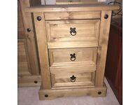 Antique pine rustic modern set of 3 drawers bedside cabinets pair