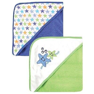 "LUVABLE FRIENDS PRINT HODDED TOWELS 2-PACK SIZE 28"" x 28"" BLUE"