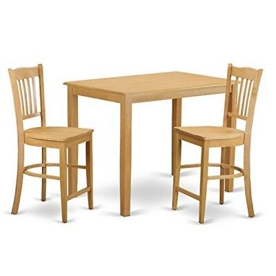 YAGR3-OAK-W 3 PC counter height pub set - Dining room table and 2 bar stools. ()