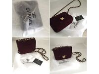 Beautiful small handbag with long chain. Red velvet