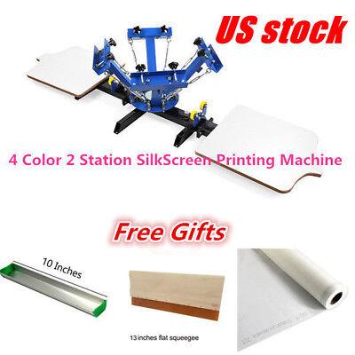 Us-4 Color 2 Station Silkscreen Printing Machine 4-2 Press Diy T-shirt Printing