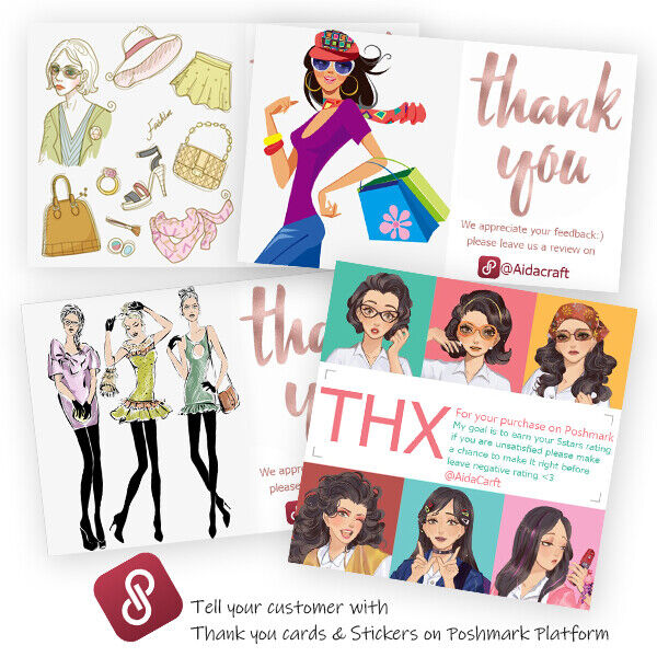 Details about PERSONALIZED POSHMARK THANK YOU BUSINESS CARD STICKERS LABELS  CLOSET VTG DESIGN