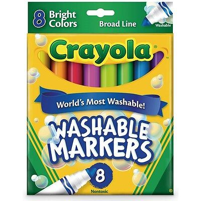 Crayola Washable Markers 8 Bright Colors Broad Line Kids Child Classic Toy New