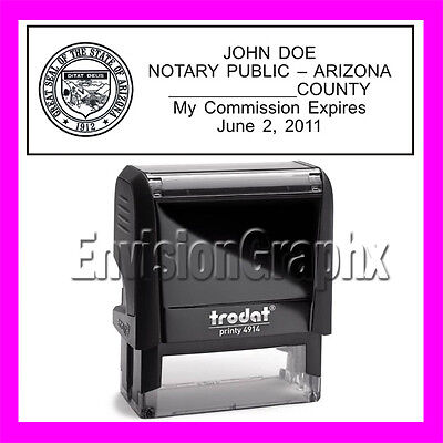 Custom Official Notary Public Arizona Self Inking Rubber Stamp T4914 Black
