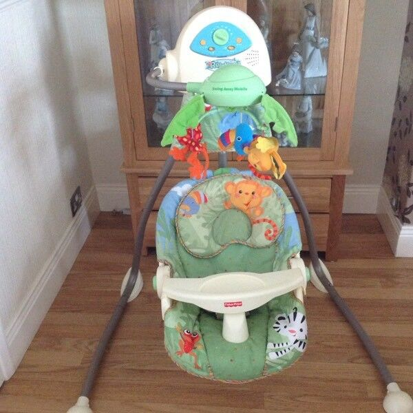 FISHER PRICE RAINFOREST MUSICAL CRADLE SWING ( excellent condition )