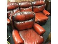 Red leather Chesterfield free delivery