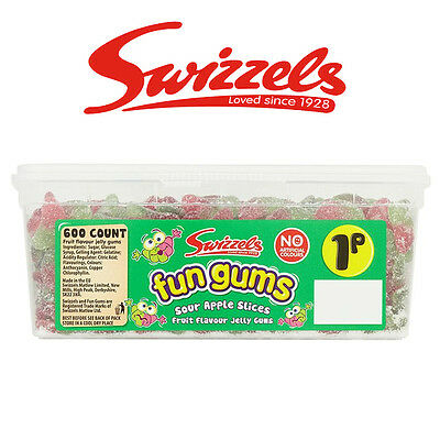 Candy Apple Boxen (SWIZZELS FUN GUMS SOUR APPLE SLICES TUB SWEETS CANDY BOX BIRTHDAY PARTY FAVOURS)