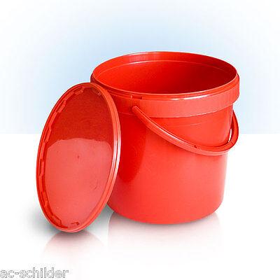 5 Stück 10 L Liter Eimer leer Leereimer rot leere Kunststoffeimer mit Deckel