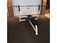 Full Gym Set Up - Weight Bench, Olympic Bar & Weights