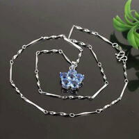 14k Gold Filled Pendant Blue Sapphire Flower Chain Necklace