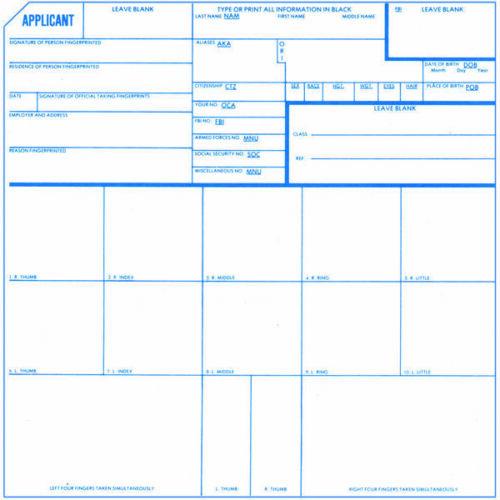 Set of 5 Fingerprint Cards FD-258 Applicant Cards FBI Citizenship Teachers