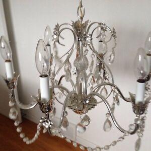 Vintage 1970 chandelier and light fixtures