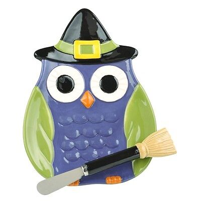 469967 Owl in Witch Hat Plate w/Broom Spreader Halloween Snack Dish Cheese Tray