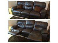 *** brown leather recliner 3 seater sofa*